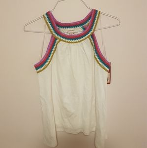 Tank top with knitted straps
